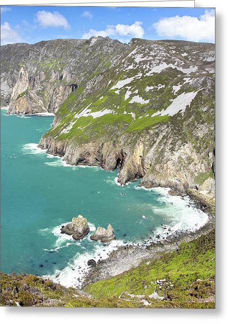 Atlantic Beaches Greeting Cards - Tall sea cliffs of Slieve League Donegal Ireland Greeting Card by Pierre Leclerc Photography
