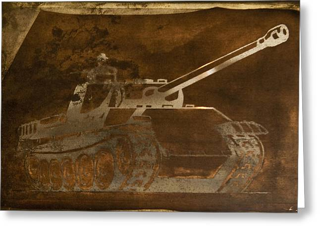 Silk Screen Greeting Cards - Tank Greeting Card by Matthew Saindon