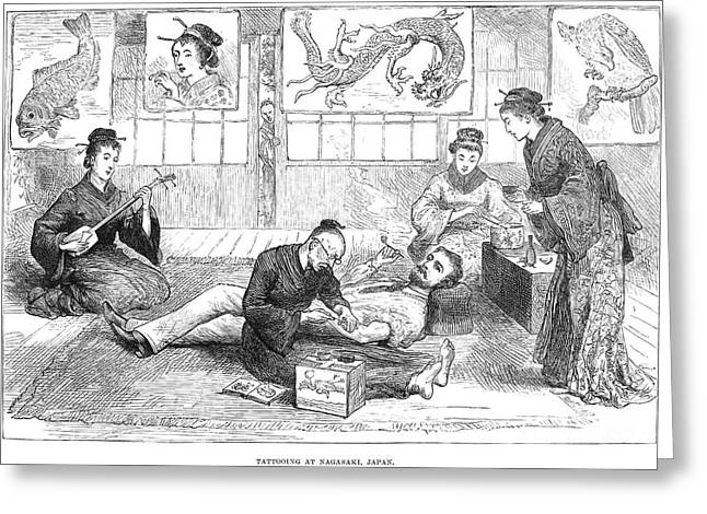 Meiji Greeting Cards - Tattoo Parlor, 1882 Greeting Card by Granger