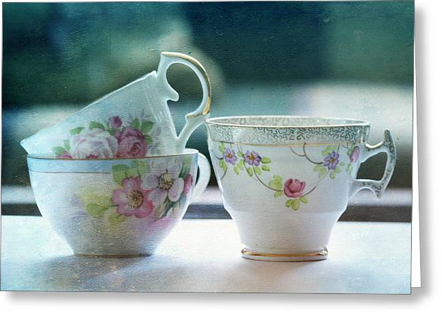 Flowered Greeting Cards - Tea for Three Greeting Card by Bonnie Bruno
