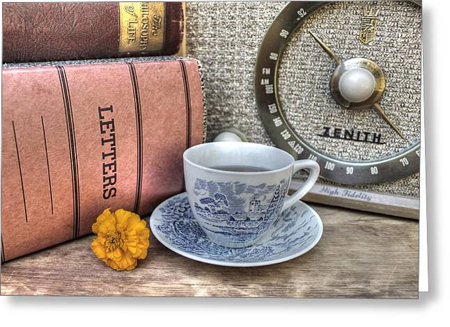 Coffee Drinking Greeting Cards - Tea Time Greeting Card by Jane Linders