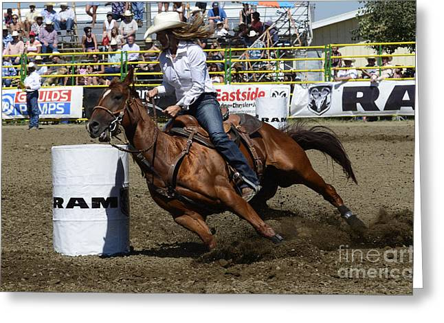 Western Life Greeting Cards - Rodeo Barrel Racing Teamwork Greeting Card by Bob Christopher