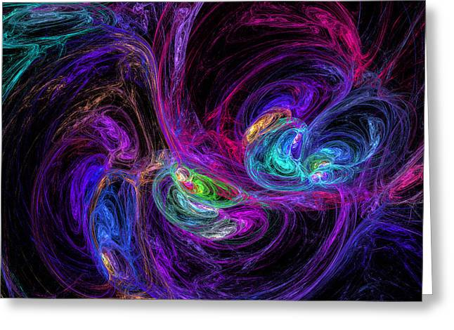 Fractal Galaxies Greeting Cards - Technicolor Galaxies Greeting Card by Ricky Barnard