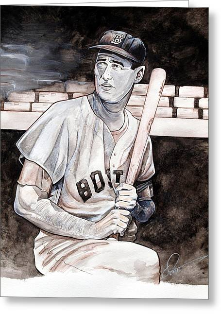 Williams Ted Greeting Cards - Ted Williams Greeting Card by Dave Olsen