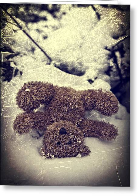 Hiding Greeting Cards - Teddy In Snow Greeting Card by Joana Kruse