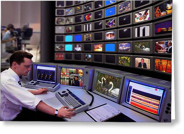 Programming Greeting Cards - Television Control Room Greeting Card by Mike Miller