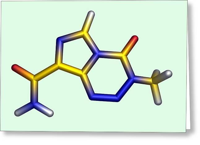 Drug Molecule Greeting Cards - Temozolomide Chemotherapy Drug Molecule Greeting Card by Dr Tim Evans