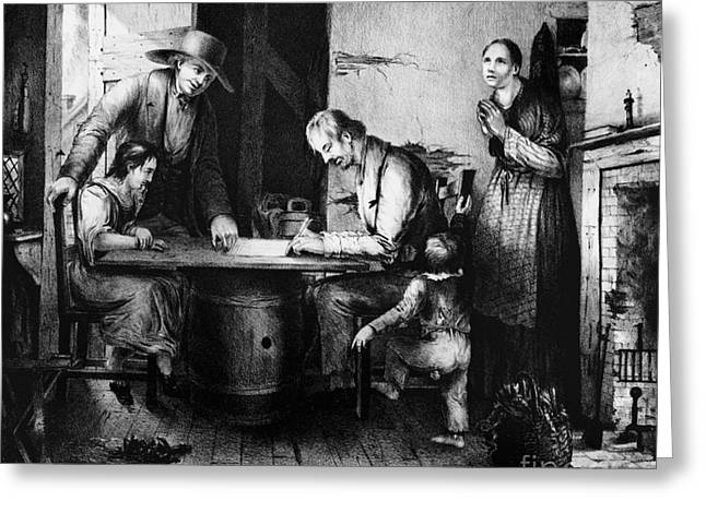 Political Cartoon Greeting Cards - Temperance Movement Signing The Pledge Greeting Card by Photo Researchers