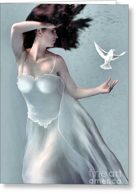 Demure Greeting Cards - Tempest - Goddess of the Wind Greeting Card by Corey Ford
