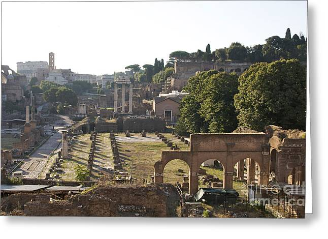Historically Greeting Cards - Temple of Vesta Arch of Titus. Temple of Castor and Pollux. Forum Romanum Greeting Card by Bernard Jaubert