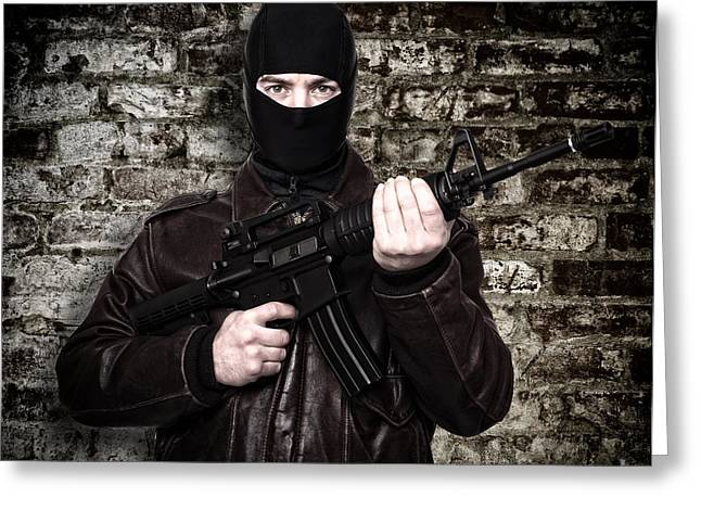 Terrorist Portrait Greeting Card by Gualtiero Boffi