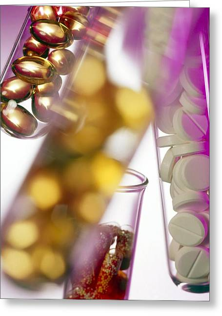 Pill Greeting Cards - Test Tubes Containing Pills And Capsules Greeting Card by Tek Image