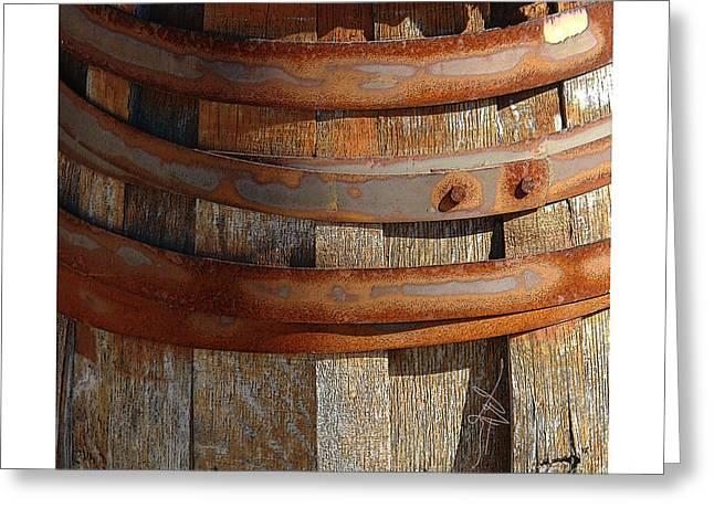 Rusted Barrels Greeting Cards - Textural Abstract 6 Greeting Card by Bob Salo