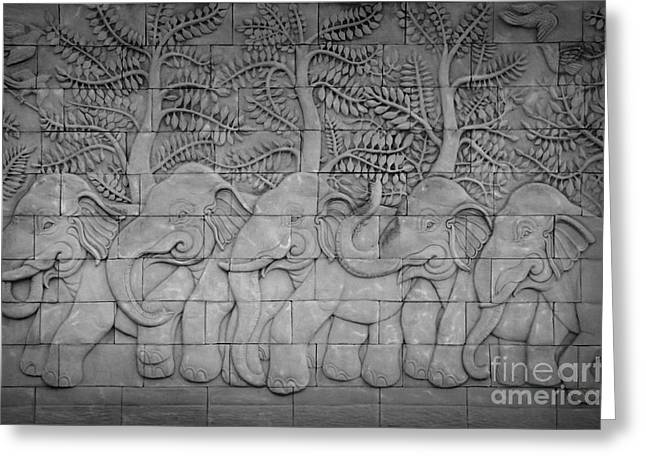 Temple Reliefs Greeting Cards - Thai style handcraft of elephant Greeting Card by Phalakon Jaisangat
