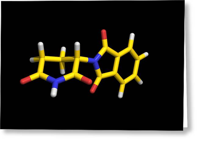 Sedative Greeting Cards - Thalidomide Drug Molecule Greeting Card by Dr Tim Evans