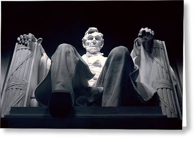 American Presidents And Prime Ministers Greeting Cards - The Abraham Lincoln Statue Greeting Card by Rex A. Stucky