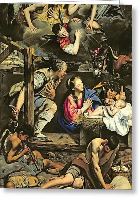 Mary Greeting Cards - The Adoration of the Shepherds Greeting Card by Fray Juan Batista Maino or Mayno