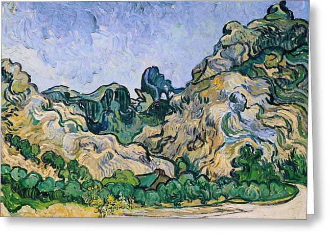Saint-remy De Provence Greeting Cards - The Alpilles Greeting Card by Vincent Van Gogh