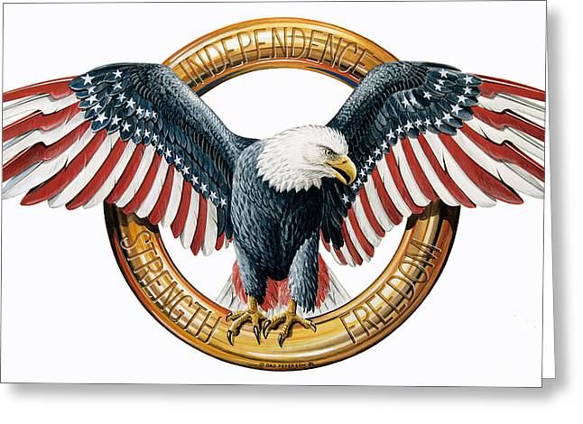 American Flag Paintings Greeting Cards - The American Eagle Greeting Card by Dag Peterson