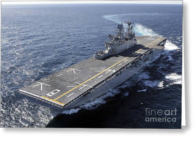 Trial Greeting Cards - The Amphibious Assault Ship Uss Makin Greeting Card by Stocktrek Images