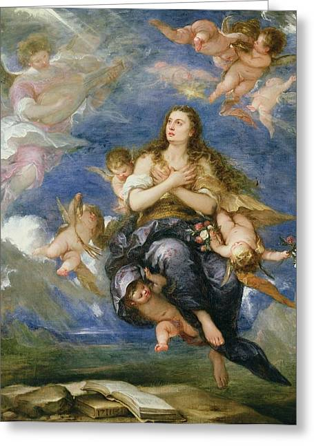 The Church Greeting Cards - The Assumption of Mary Magdalene Greeting Card by Jose Antolinez