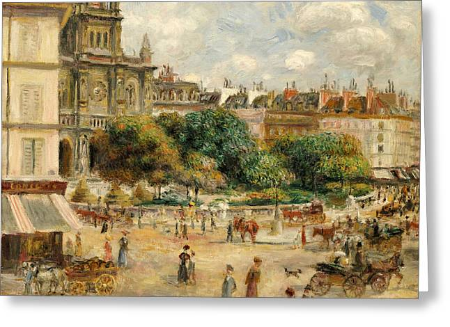 Town Square Greeting Cards - The Banks of the Seine at Bougival Greeting Card by Pierre Auguste Renoir