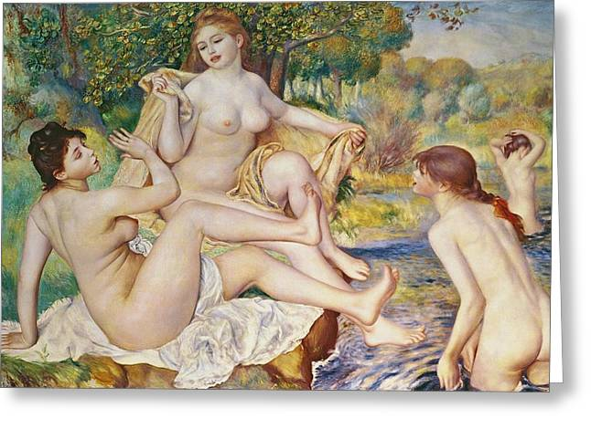 Curved Greeting Cards - The Bathers Greeting Card by Pierre Auguste Renoir