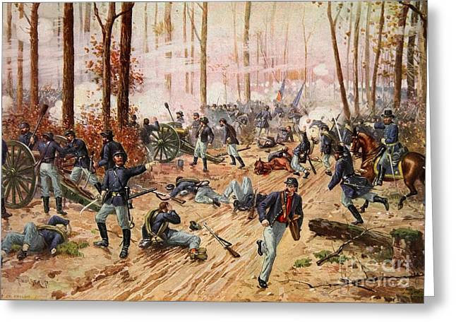 Landing Paintings Greeting Cards - The Battle of Shiloh Greeting Card by Henry Alexander Ogden