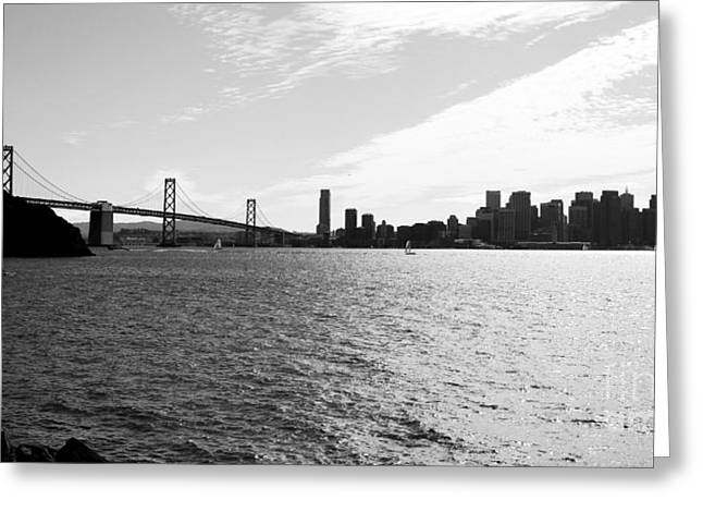 Bay Bridge Greeting Cards - The Bay Bridge and The San Francisco Skyline Viewed From Treasure Island . 7D7771 Greeting Card by Wingsdomain Art and Photography