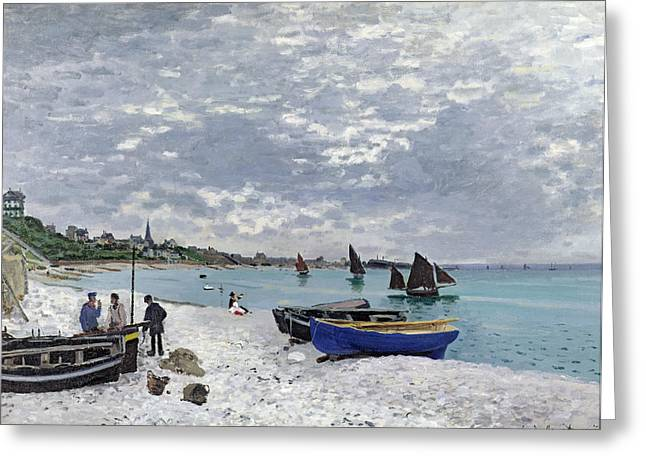 Fishing Village Greeting Cards - The Beach at Sainte Adresse Greeting Card by Claude Monet