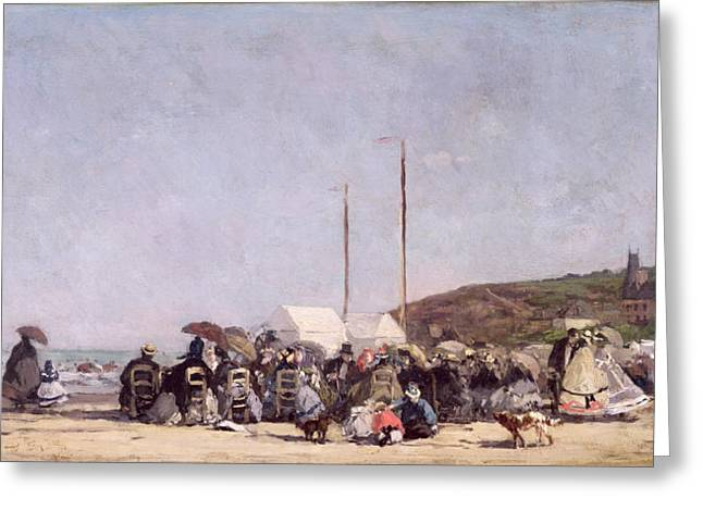 Day Out Greeting Cards - The Beach at Trouville Greeting Card by Eugene Louis Boudin