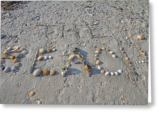Spelling Greeting Cards - The Beach Greeting Card by Betsy C  Knapp