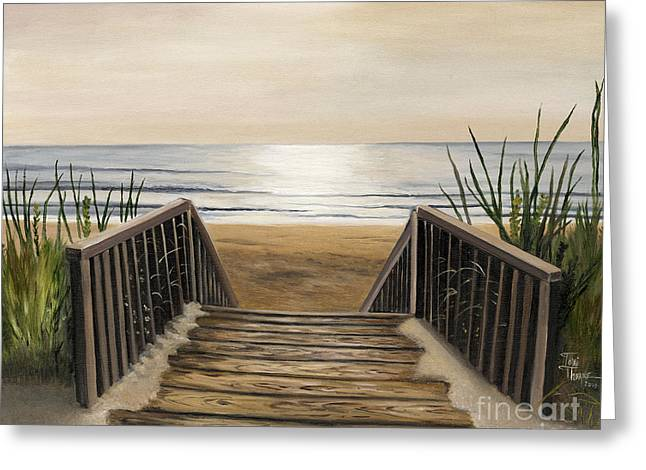 Sand Paintings Greeting Cards - The Beach Greeting Card by Toni  Thorne