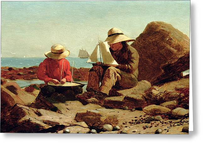 Toy Boat Greeting Cards - The Boat Builders Greeting Card by Winslow Homer