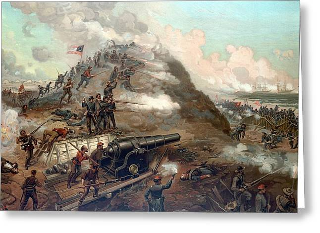 """civil War"" Greeting Cards - The Capture Of Fort Fisher Greeting Card by War Is Hell Store"