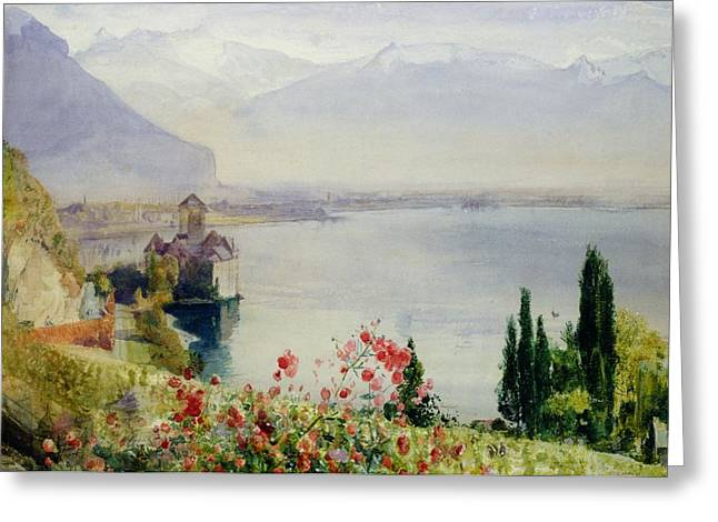 Swiss Greeting Cards - The Castle at Chillon Greeting Card by John William Inchbold