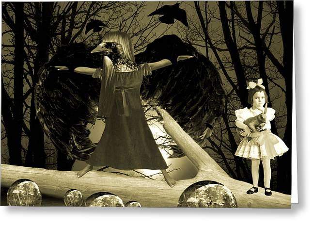 Ravens Greeting Cards - The Child Greeting Card by Tisha McGee