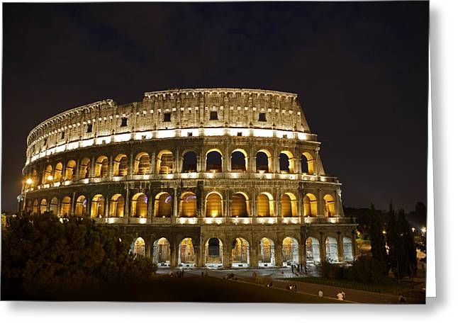 Art Of Building Greeting Cards - The Colosseum At Night Greeting Card by Stephen Alvarez