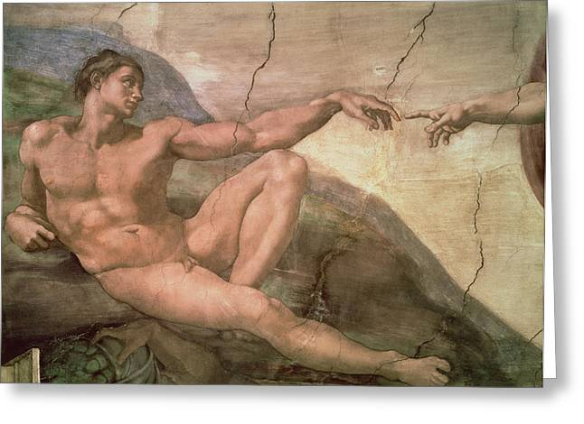 Creationism Greeting Cards - The Creation of Adam Greeting Card by Michelangelo Buonarroti