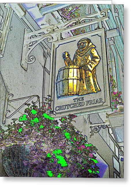 Crutch Digital Art Greeting Cards - The Crutched Friar Public House Greeting Card by David Pyatt