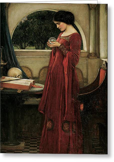Victorian Greeting Cards - The Crystal Ball Greeting Card by John William Waterhouse