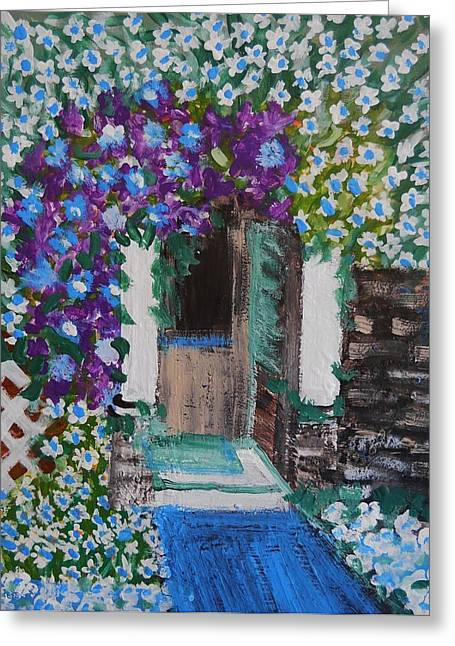 Nyc Posters Paintings Greeting Cards - The Door Greeting Card by Suzanne Thomas
