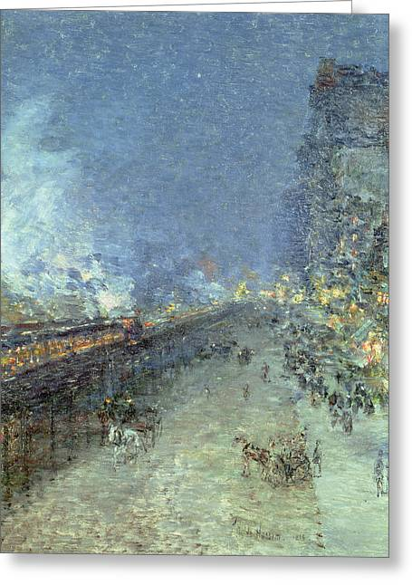 New York City Rain Greeting Cards - The El Greeting Card by Childe Hassam