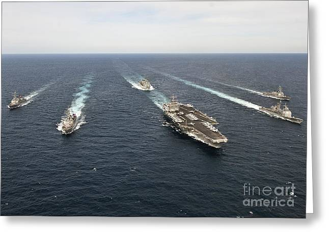 Enterprise Photographs Greeting Cards - The Enterprise Carrier Strike Group Greeting Card by Stocktrek Images