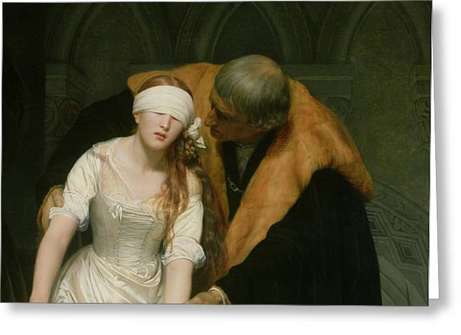 Doomed Greeting Cards - The Execution of Lady Jane Grey Greeting Card by Hippolyte Delaroche