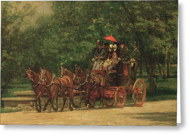 Umbrellas Greeting Cards - The Fairman Rogers Coach and Four Greeting Card by Thomas Cowperthwait Eakins