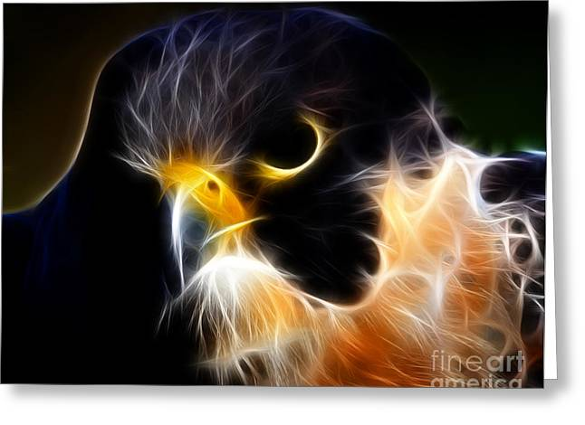 Flying Animal Digital Art Greeting Cards - The Falcon Greeting Card by Wingsdomain Art and Photography
