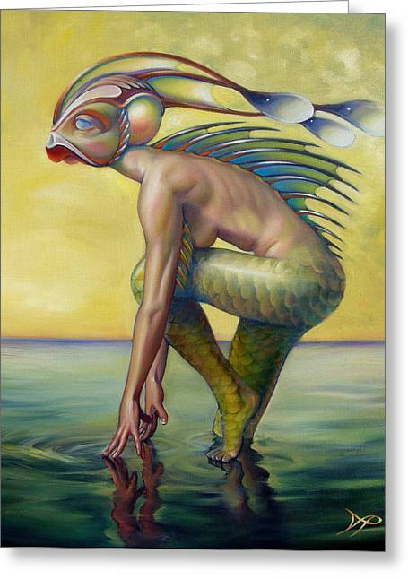 Mermaid Greeting Cards - The Finandromorph Greeting Card by Patrick Anthony Pierson