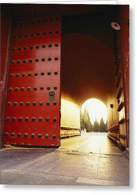Reflection.etc Greeting Cards - The Giant Red Doors To The Forbidden Greeting Card by Justin Guariglia