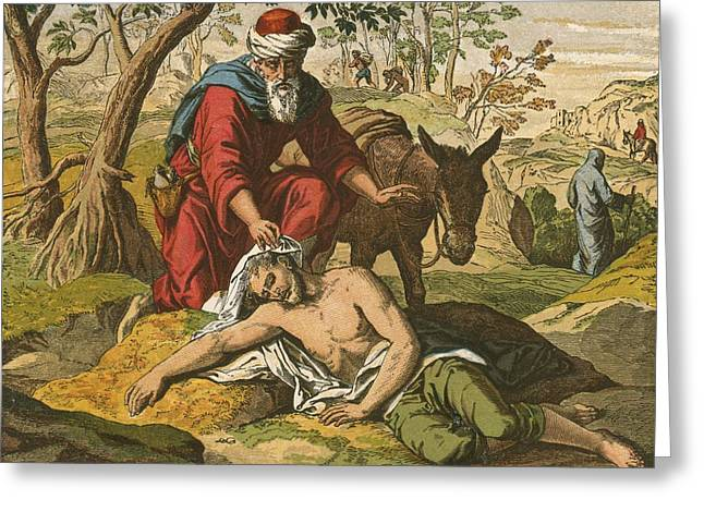 Parable Greeting Cards - The Good Samaritan Greeting Card by English School